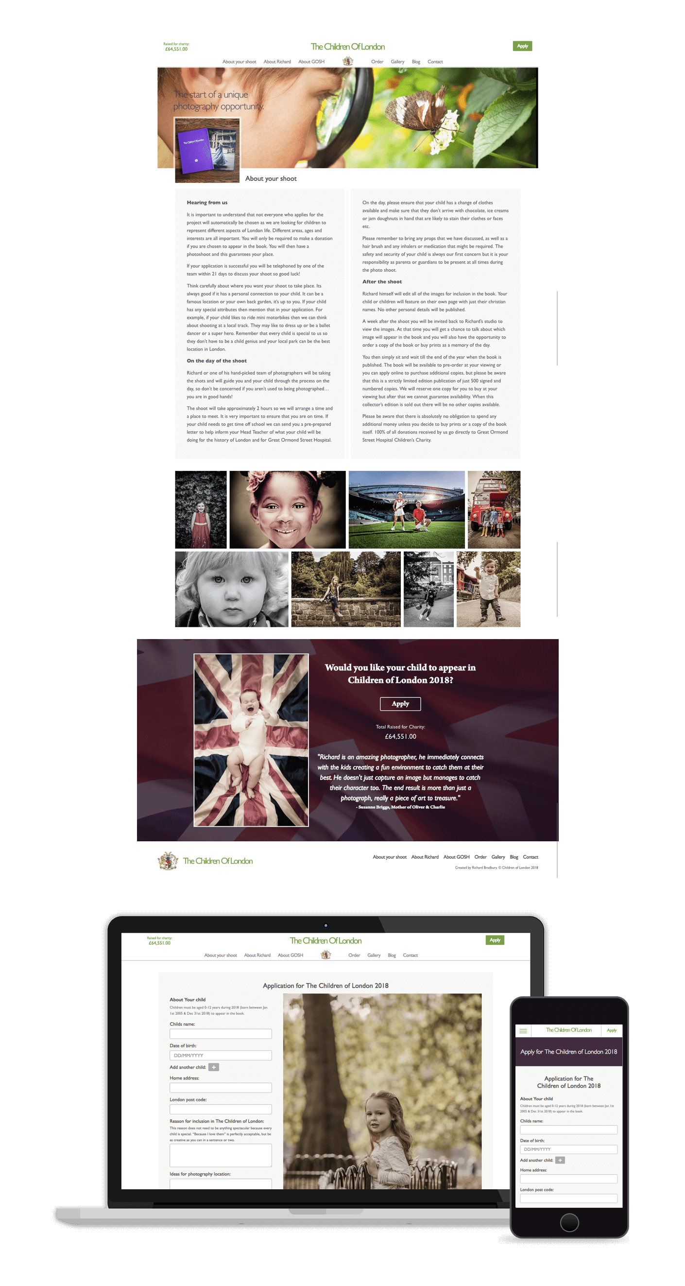 Children of London information page and responsive layout