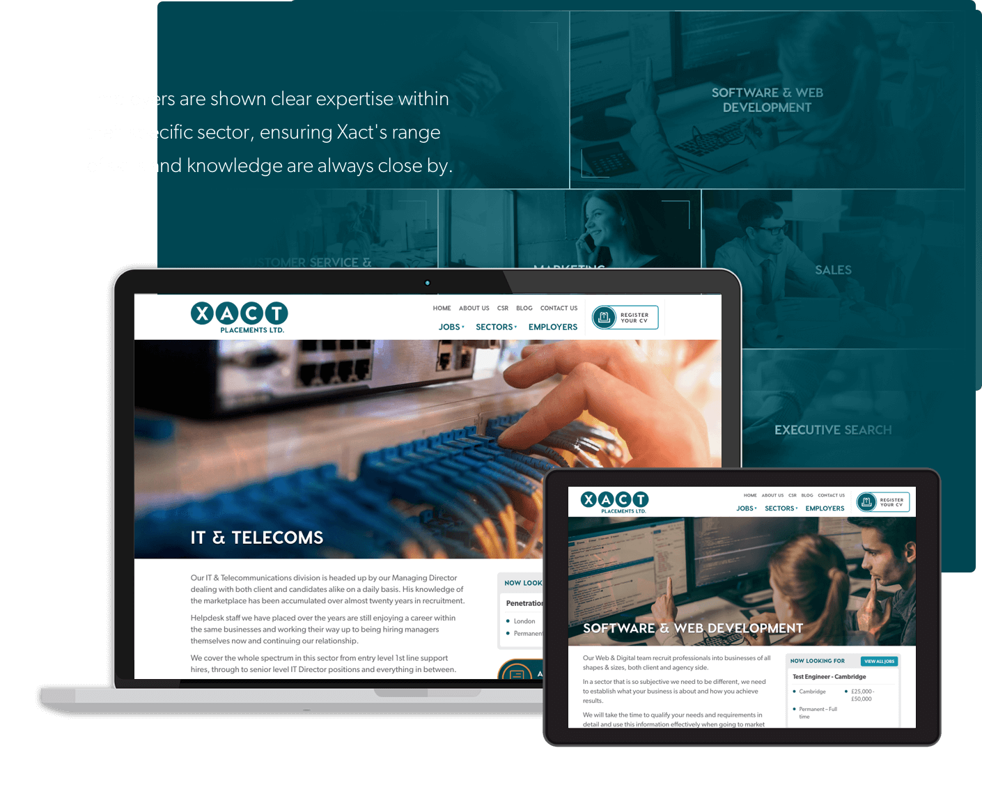 Responsive web design and user experience example from Xact Placements Ltd. website