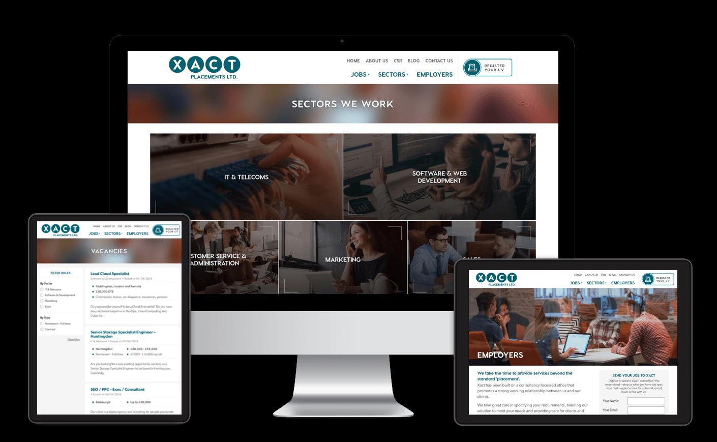 Xact Placements Ltd responsive web design and development