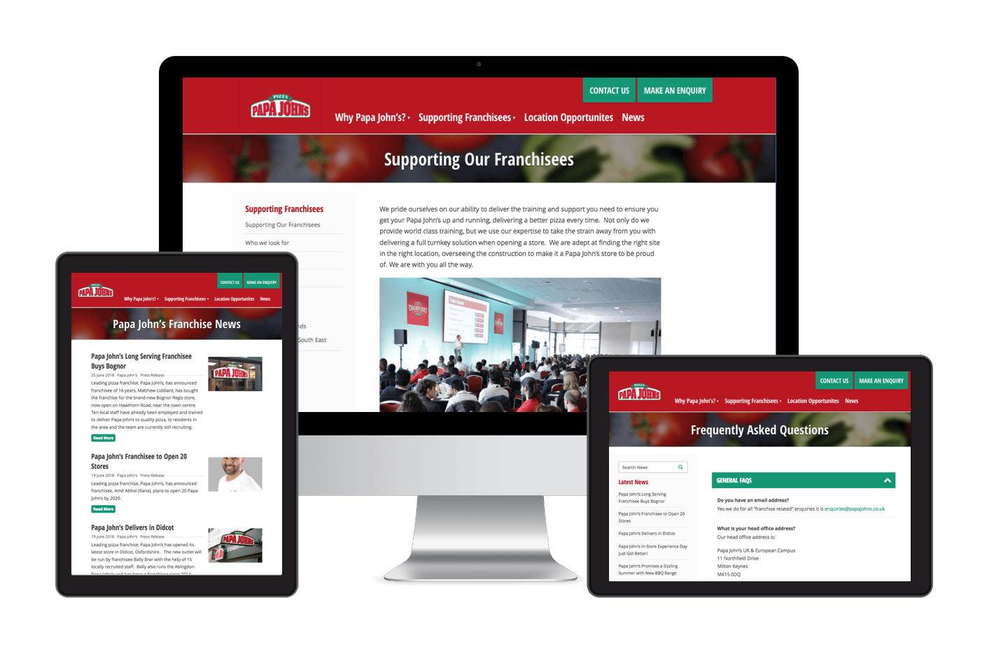 Papa John's responsive website design